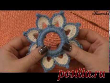Вязание крючком цветка на шторном кольце | Вязание крючком для начинающих