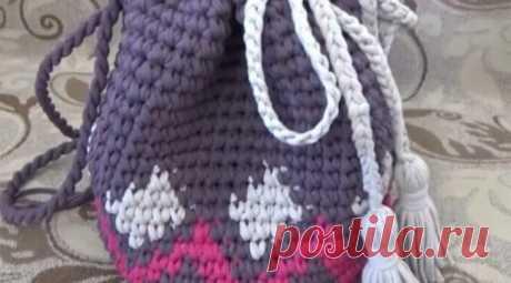 Связать рюкзак крючком из ленточной пряжи — пошагово с фото — Бабушкины секреты