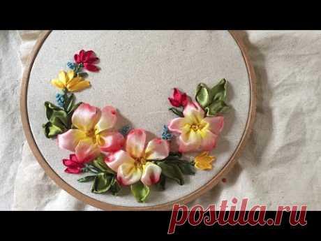 D.I.Y Ribbon Embroidery Spring Cherry Blossom/ Hướng dãn thêu ruy băng hoa Anh Đào