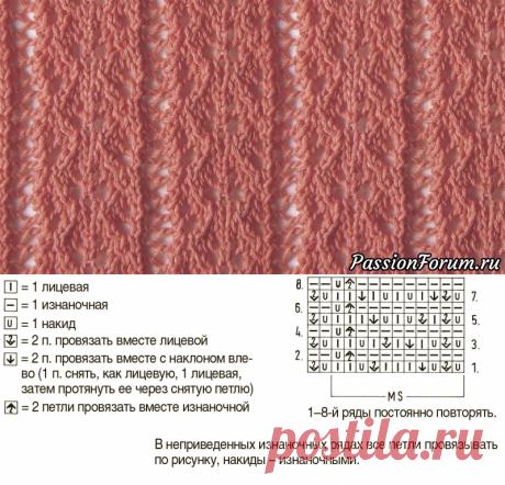 Узор «Ряды с листочками» | Вязание спицами для начинающих