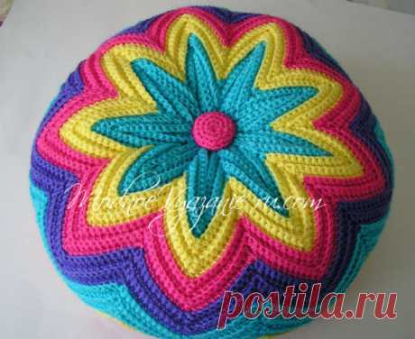 Декоративная подушка крючком узором зигзаг - Crochet.Modnoe Vyazanie ru.rom