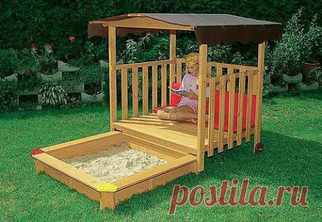 Комфортные и удобные песочницы для детей на даче | 6 соток