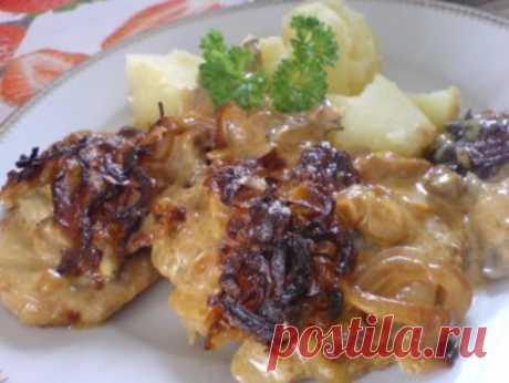 Zwiebel-Sahne-Schnitzel überbacken - Rezept - kochbar.de