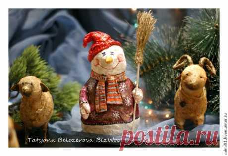 Мастер-класс: снеговик в технике ватного папье-маше Автор МК Белозёрова Татьяна (BizWoo)
