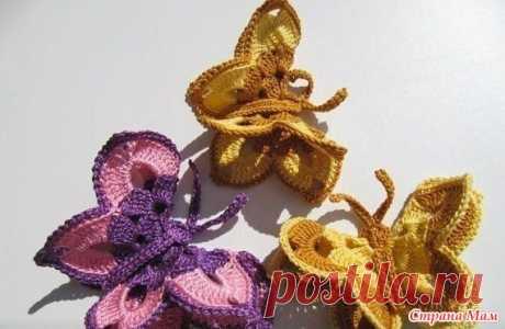 """Шляпка с брошью """"Бабочка"""" (эффект летящей бабочки) - Вязание для детей - Страна Мам"""