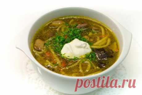 Ароматный грибной суп с вермишелью, рецепт