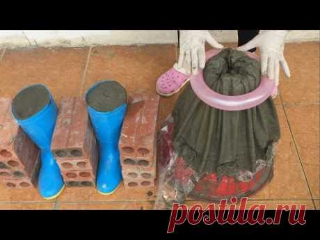 Simple Idea From Cement / Make Potted Plants From Shoes And Old Skirts / Garden Decoration