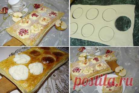 Быстрый пирог из слоеного теста и яблок — Вкусная еда