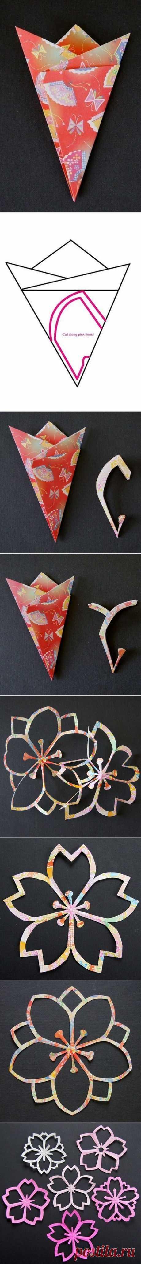 DIY Sakura Киригами Бумажные цветы | www.FabArtDIY.com