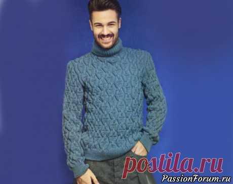 Тёплый мужской пуловер с узором | Вязание для мужчин спицами. Схемы вязания Великолепный узор для тёплого мужского пуловера выглядит модно и свежо.Размеры: 48 (50-52-54)  Вам потребуется: 750(750-800-800) г голубой пряжи Prima (100% мериносовой шерсти, 95 м/50 г); спицы №4,5 и № 5, 2 вспомогательные спицы.Двойная резинка: контрастной нитью набрать половину...
