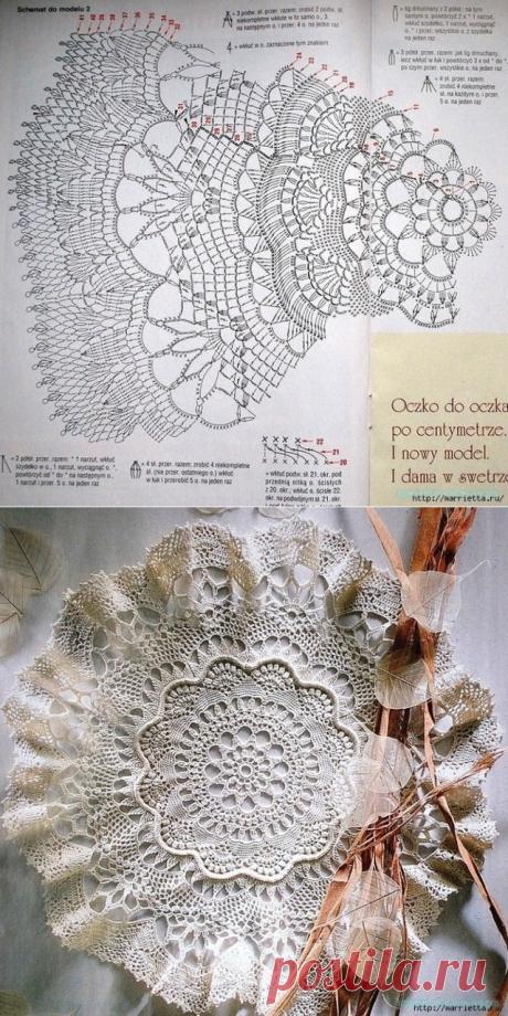 Красивая салфетка крючком. — Красивое вязание