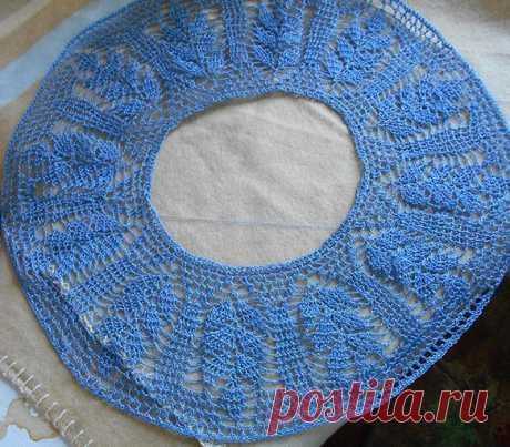 Топик с круглой кокеткой крючком | Вязание спицами и крючком с Натальей Ивченко