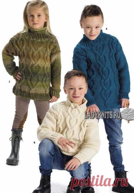 Теплый свитер с косами спицами для ребенка от 2 до 14 лет