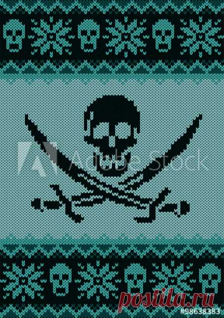 Horizontal seamless knitted pattern. Pirate flag knitted. Snowflakes and skull. - Buy this stock vector and explore similar vectors at Adobe Stock