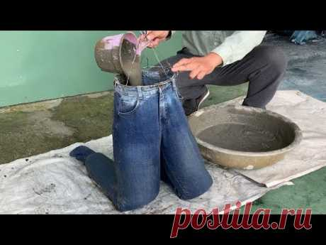 Crazy Idea // Cement and Jeans // How to make flower pots from cement and jeans