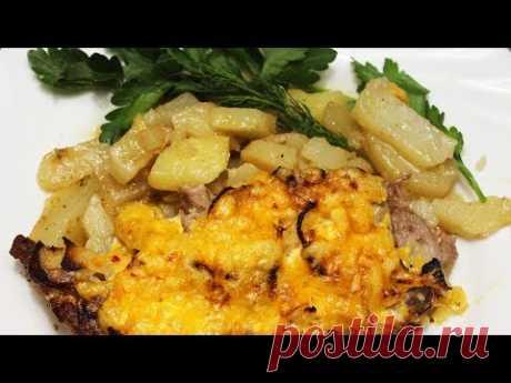 Запеченный картофель под сырно-мясной шубкой. Очень вкусное блюдо к праздничному столу