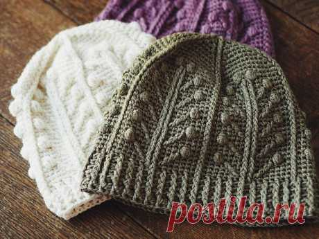 Crochet hat PATTERN Winter Garden Beanie sizes baby to | Etsy
