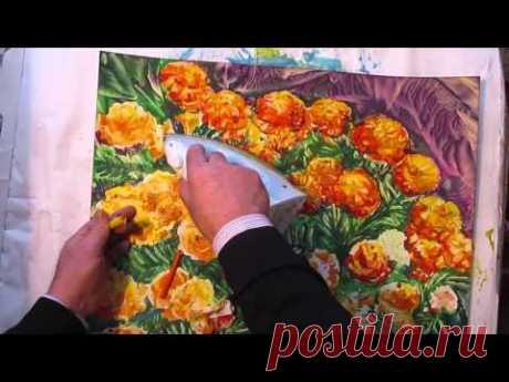 Уроки живописи — Как рисовать ЦВЕТЫ БАРХАТЦЫ восковыми красками. Урок 71