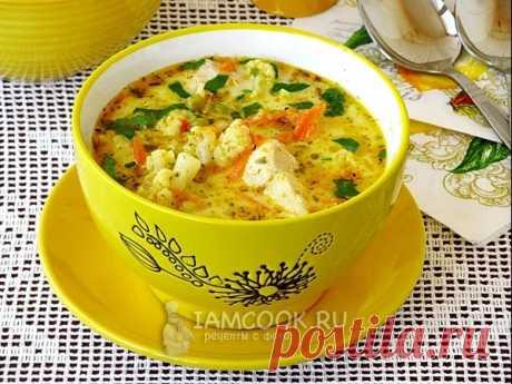 Куриный суп с цветной капустой, горошком и сыром — рецепт с фото