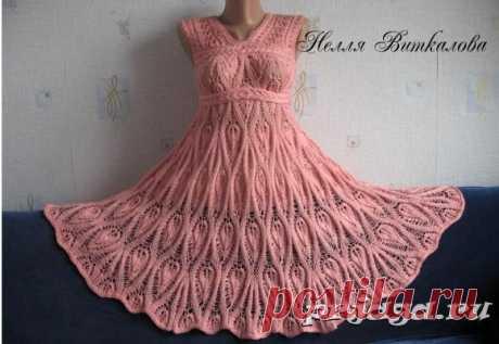 Авторское платье «Ананасы» спицами от Нелли Виткаловой