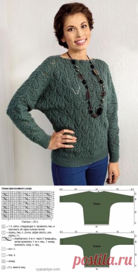 Вязание крючком и спицами - Пуловер фантазийным узором