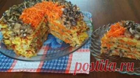 Картофельный торт на сковороде с грибами и морковью Станет частым гостем на Вашем столе! - Кабачок фото видео рецепты пошагово