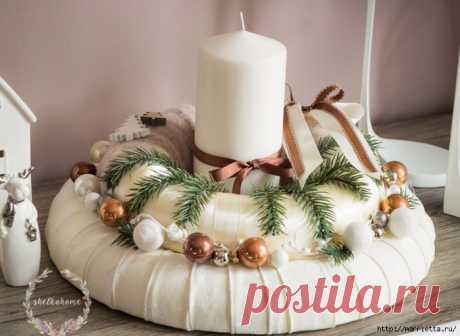 Стильный текстильный венок к Новому году. Идея