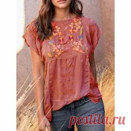Casual Vintage Printed Short Sleeve Blouse – uellos