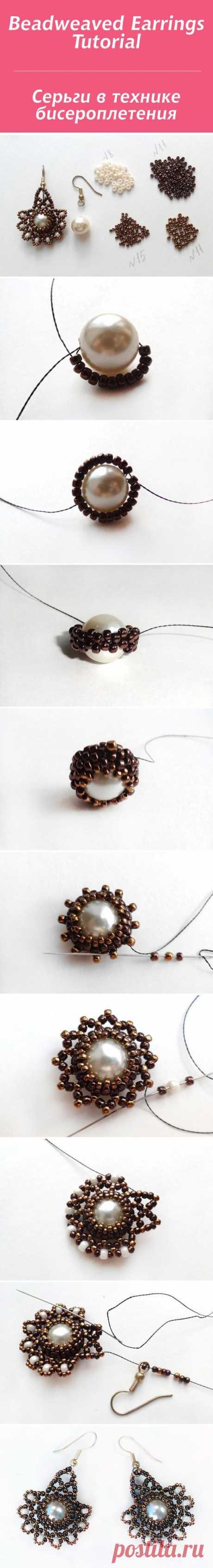 (1) We create earrings in the beadwork \/ Beadweaved Earrings Tutorial equipment   jewelry video