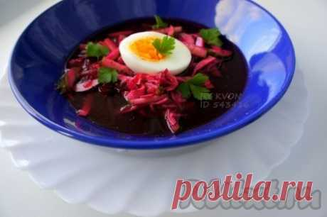 Cold borsch with sausage