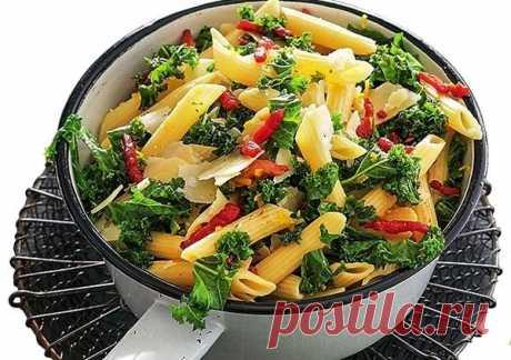 Грюнколь со шпиком и спагетти