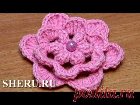 Crochet 3D Center Flower Урок 39 Вязание цветка крючком