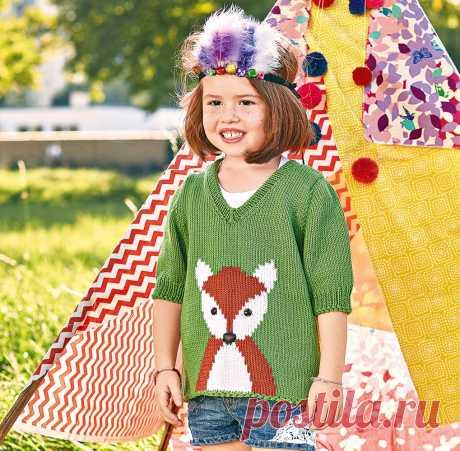 Детский пуловер с лисой - схема вязания спицами. Вяжем Пуловеры на Verena.ru