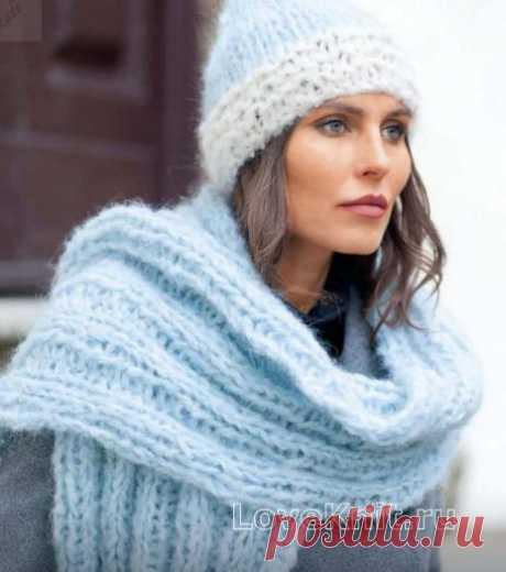 Мохеровый шарф и шапочка резинкой, схема спицами