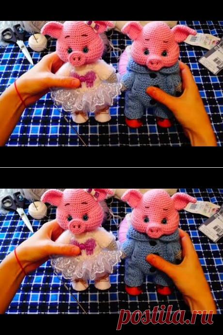 (1) Свинка крючком, 1 часть (голова) - YouTube
