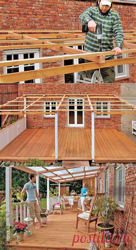 Canopy over a terrace. Step by step.