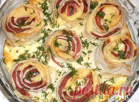 Омлет - букет с розами из лаваша - Ням.ру