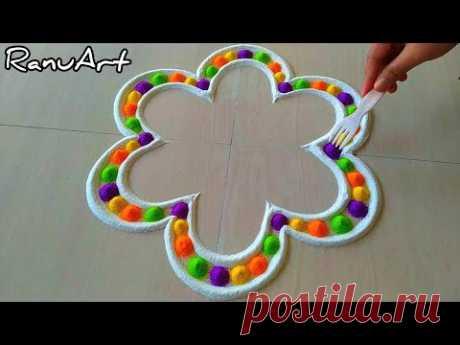 Flower Multicolored Satisfying Rangoli Video/Easy Rangoli Design/Latest New Muggulu/Traditional Art
