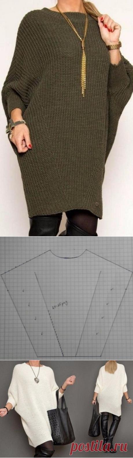 Платье свободного модного силуэта (Вязание спицами) – Журнал Вдохновение Рукодельницы
