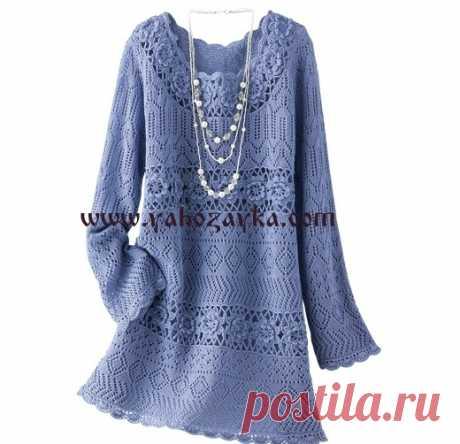 Стильное женское платье спицам и крючком. Вязаные женские летние платья спицам и крючком