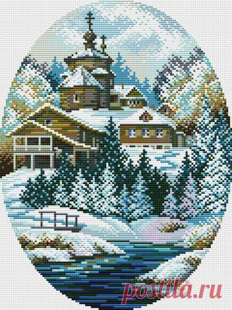 #Пейзажи  #Религия #вышивка #схемы #рукоделие #handmade #церковь #зима