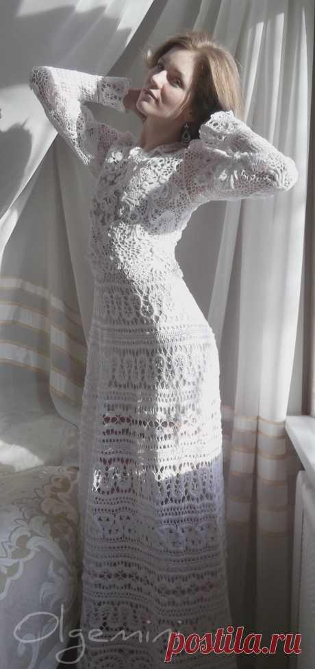 платье лебедушка. Ирландское кружево
