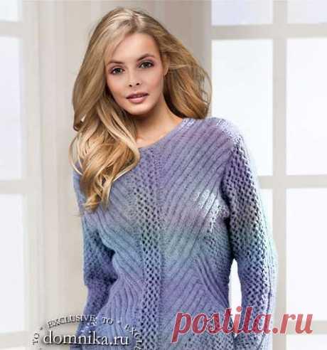 Стройнящий пуловер спицами для женщин - схемы вязания джемпера