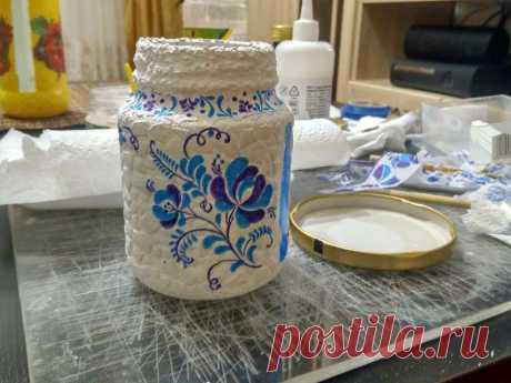 Dekupazh del frasco de vidrio para los principiantes - poshagovyy la clase maestra