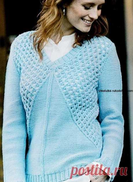 Пуловер с сетчатым узором. Стильный женский пуловер спицами реглан