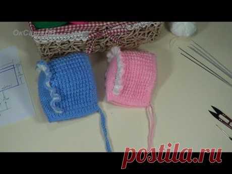 El gorrito (cofia) infantil con ryushkoy. La labor de punto por los rayos. Children's knitted cap.