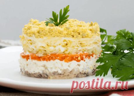 Салат Мимоза с рыбными консервами – классический рецепт