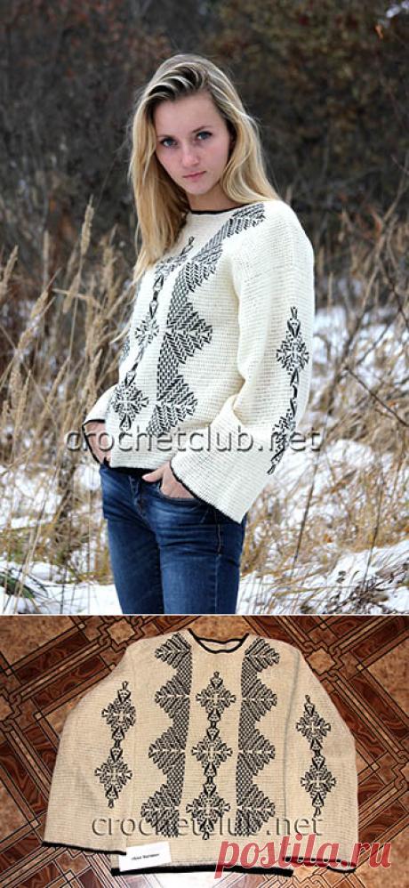 Вязаный джемпер с вышивкой - Вязание Крючком. Блог Настика
