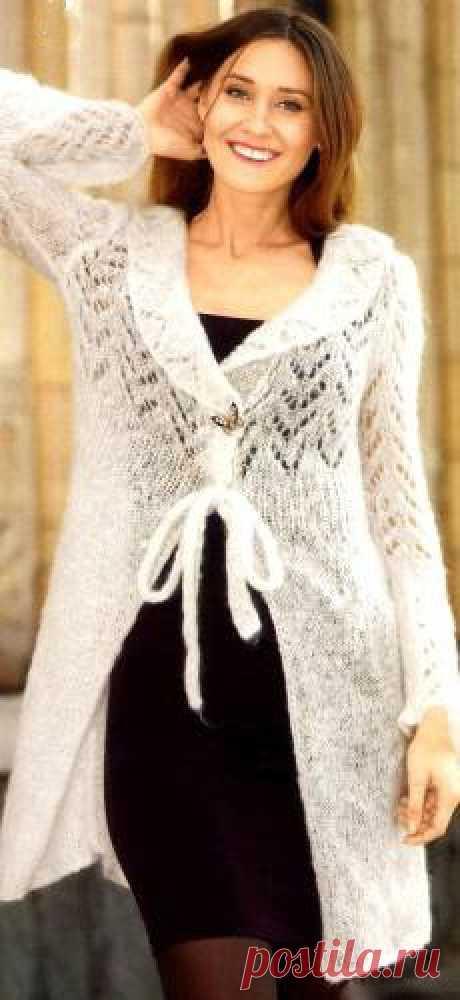 Ажурный кардиган из мохера | Вязание для женщин | Вязание спицами и крючком. Схемы вязания.