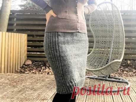 Как я связала юбку-карандаш спицами .